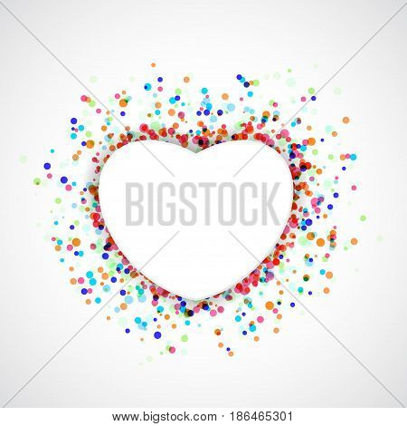 Heart shape symbol over colorful confetti or holi background. White frame with particle dust beneath. Anniversary festive greetings card template layout. Vector illustration