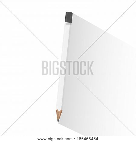 Vector illustration of sharpened white wooden pencil with long shadow