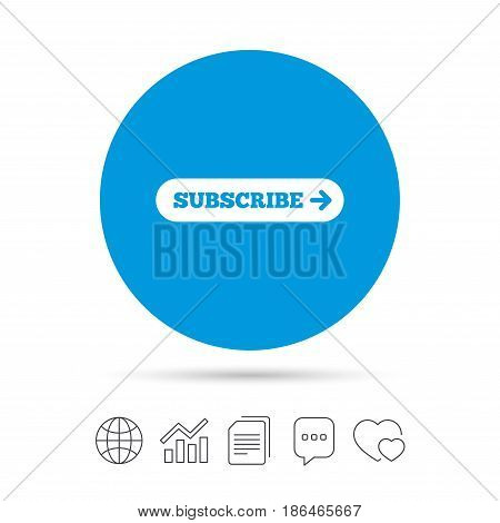 Subscribe with arrow sign icon. Membership symbol. Website navigation. Copy files, chat speech bubble and chart web icons. Vector