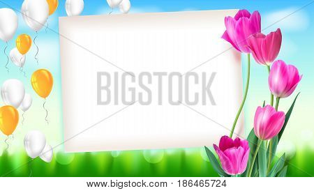 Greeting card with tulips around the sheet of paper with flying inflatable balloons. Realistic summer backdrop with green grass, festive composition. Template for your creativity, greeting card.