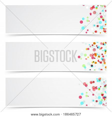 Colorful abstract splatter paint card collection. Minimalistic confetti dust celebration party web headers. Vector illustration