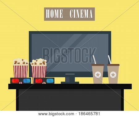Home cinema. There is home cinema, 3D glasses, popcorn and coffee on a yellow background in the picture. Watch movies online concept. Raster copy.
