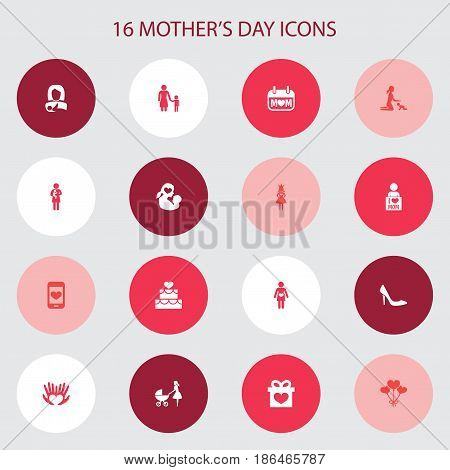 Mothers Day Icon Design Concept. Set Of 16 Such Elements As Decoration, Pastry And Present. Beautiful Symbols For Lady, Heeled And Holiday.