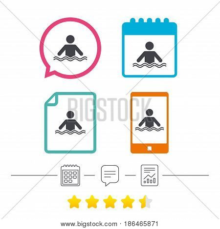 Swimming sign icon. Pool swim symbol. Sea wave. Calendar, chat speech bubble and report linear icons. Star vote ranking. Vector