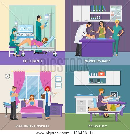 Maternity hospital 2x2 design concept set of pregnancy childbirth newborn baby flat compositions vector illustration