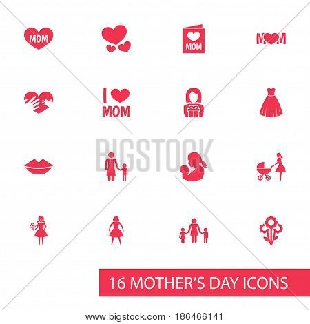 Mothers Day Icon Design Concept. Set Of 16 Such Elements As Woman, Gift To Mother And Stroller. Beautiful Symbols For Child, Mom And Care.