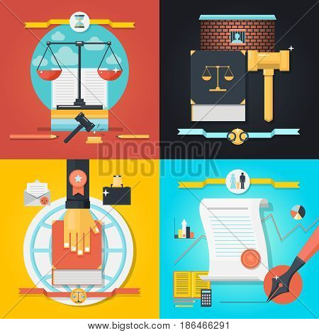 Colorful law 2x2 composition set with various objects for working in court flat isolated vector illustration