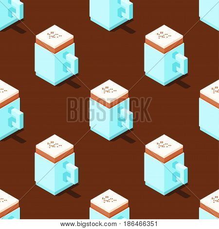 Seamless pattern of stylized cubic cappuccino cups on brown background. Retro design concept, Clipping mask used.