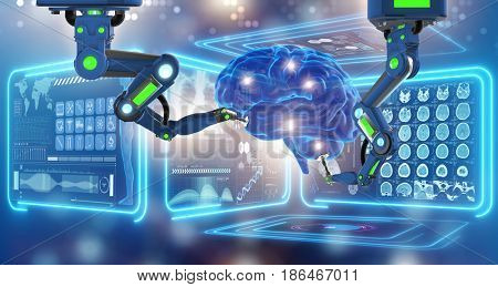 Robot performing surgery on head brain