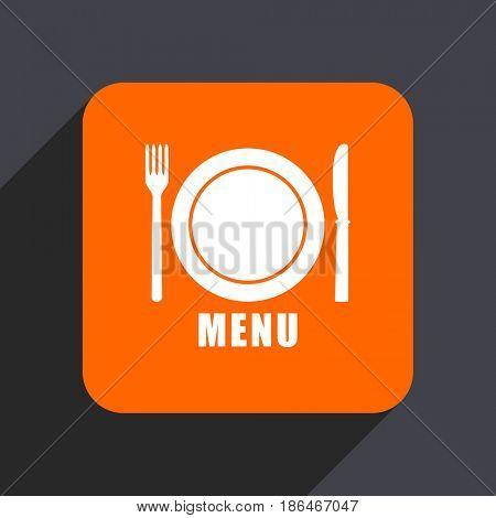 Menu orange flat design web icon isolated on gray background