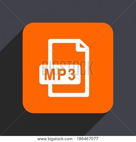 Mp3 file orange flat design web icon isolated on gray background