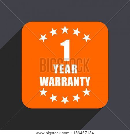Warranty guarantee 1 year orange flat design web icon isolated on gray background