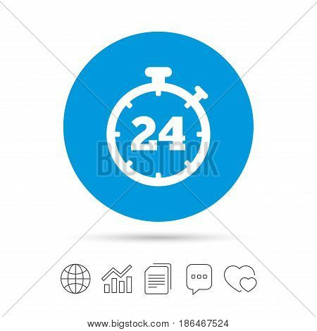 24 hours Timer sign icon. Stopwatch symbol. Customer support service. Copy files, chat speech bubble and chart web icons. Vector