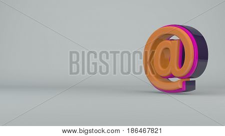 Colorful e-mail symbol rotated on white background. 3d rendering