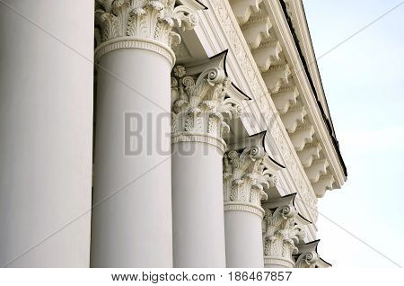 Classical portico and pediment of the building with columns. Ukraine Lviv the building of the Agricultural Institute.