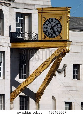 ornate gold clock on leeds civic hall - town hall