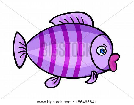 One bright violet fish with stripes.Isolated on a white background. Beautiful funny cartoon character.Cute vector illustration for children. A marine animal with eye swims. sea life