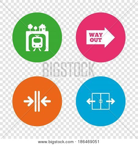 Underground metro train icon. Automatic door symbol. Way out arrow sign. Round buttons on transparent background. Vector