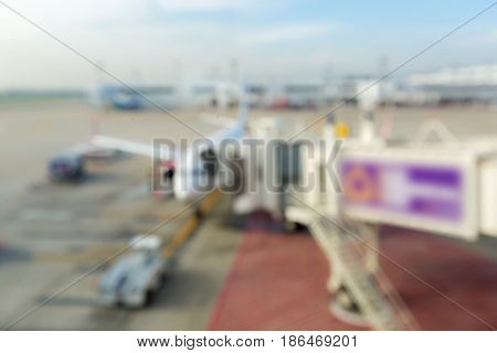 Blurred background of Airport jetway