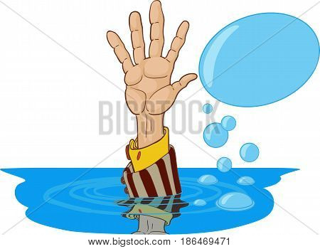The outstretched hand of a sinking person in a suit asking for help