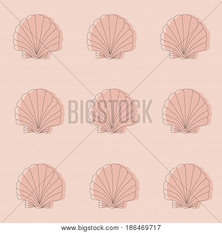 Seamless pink pattern with seashells. Line work.