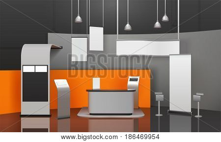 Advertising exhibition stand mockup 3D composition with display fixtures information boards screens chairs desk and lighting vector illustration
