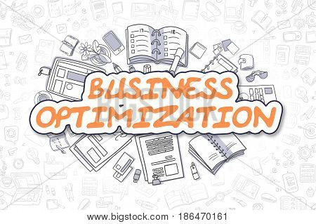 Business Illustration of Business Optimization. Doodle Orange Text Hand Drawn Doodle Design Elements. Business Optimization Concept.
