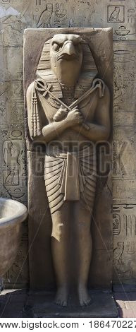 Egyptian old sculpture of stone close up