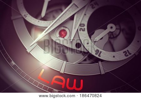 Fashion Wristwatch Machinery Macro Detail with Inscription Law. Law on the Automatic Wristwatch, Chronograph Up Close. Business and Work Concept with Glowing Light Effect. 3D Rendering.