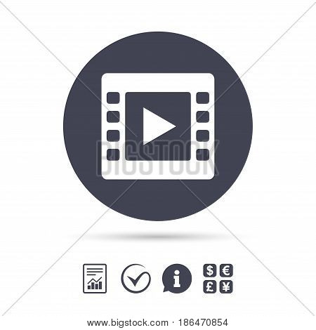 Video sign icon. Video frame symbol. Report document, information and check tick icons. Currency exchange. Vector