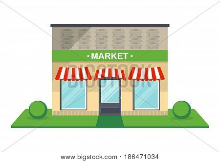 Market facade isolated on white background vector illustration. Retail building with showcase, city architecture element in flat design.