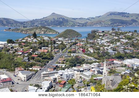 The view of Port Chalmers the suburb of Dunedin city (New Zealand).