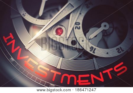 Investments on the Face of Luxury Pocket Watch Machinery Macro Detail Monochrome. Old Watch with Investments Inscription on Face. Business and Work Concept with Glowing Light Effect. 3D Rendering.