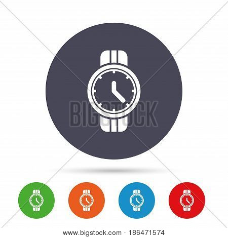 Wrist Watch sign icon. Mechanical clock symbol. Men hand watch. Round colourful buttons with flat icons. Vector