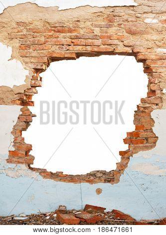 Hole brick wall