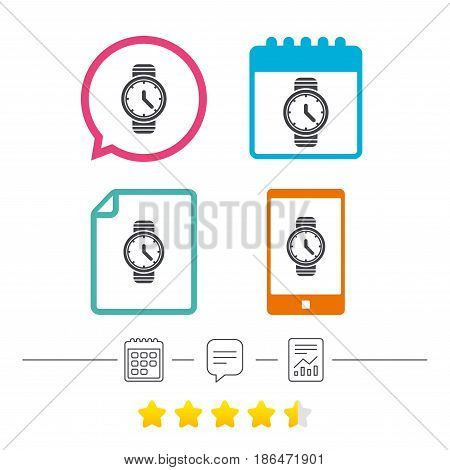 Wrist Watch sign icon. Mechanical clock symbol. Men hand watch. Calendar, chat speech bubble and report linear icons. Star vote ranking. Vector