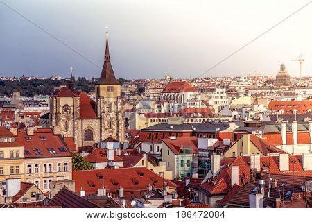 Saint Giles' Church And Prague Cityscape. Czech Republic