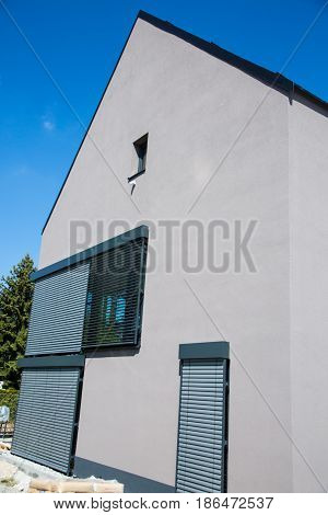 Gray single-family house modern, building, wall, window