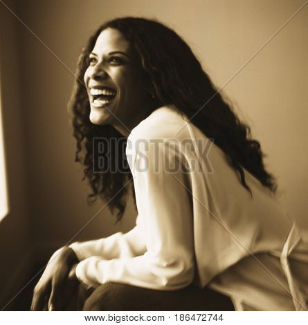 Laughing woman leaning