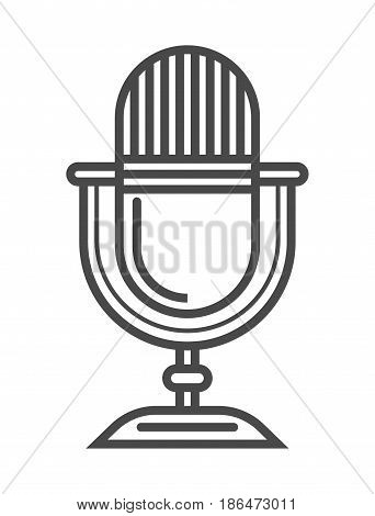 Radio microphone icon vector illustration isolated on white background. Social media and world news, network communication, mass media linear pictogram.