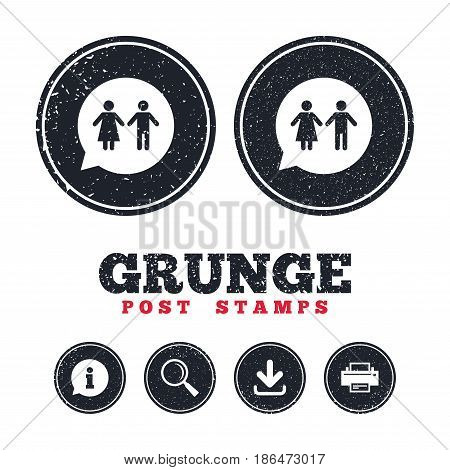 Grunge post stamps. Toilet sign icon. Restroom or lavatory speech bubble symbol. Information, download and printer signs. Aged texture web buttons. Vector
