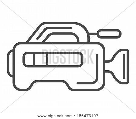 Professional tv camera icon vector illustration isolated on white background. Social media and world news, interview equipment, mass media linear pictogram.