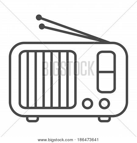 Radio receiver icon vector illustration isolated on white background. Social media and world news, wireless broadcasting, mass media linear pictogram.