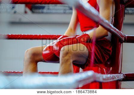 young boxer man in corner boxing ring in break between rounds