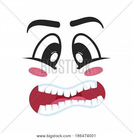 Consternation emoji emoticon or smiley face character. Funny facial expression, cute comic face isolated vector illustration.