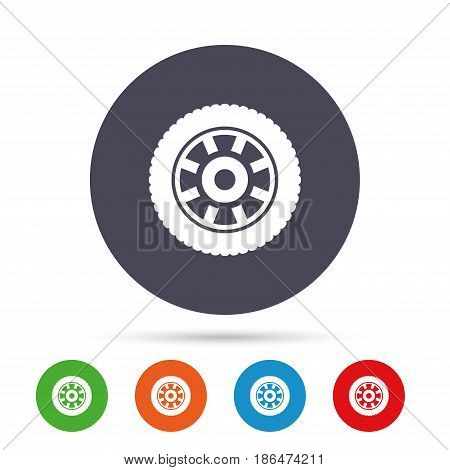 Car wheel sign icon. Circular transport component symbol. Round colourful buttons with flat icons. Vector