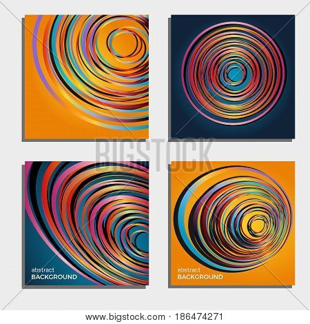 Set of four beautiful abstract backgrounds.Abstract flash light circles. Vector illustration.