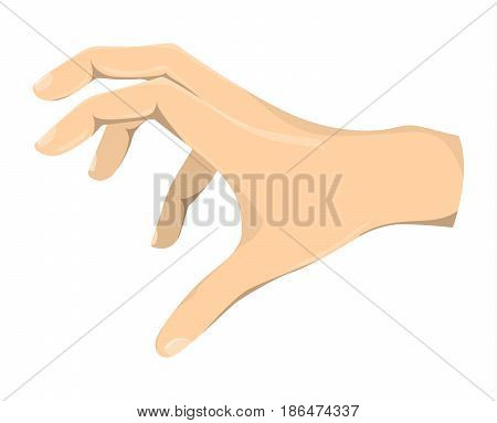 Isolated grabbing hand on white background. Symbol of chasing and catching.