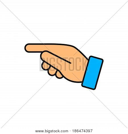 Forefinger direction color flat icon. Vector symbol.