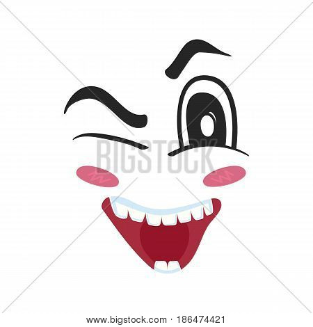 Playful emoji emoticon or smiley face character. Funny facial expression, cute comic face isolated vector illustration.
